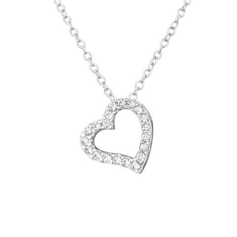 Hopeinen kaulakoru, Silver Heart Necklace CZ Light
