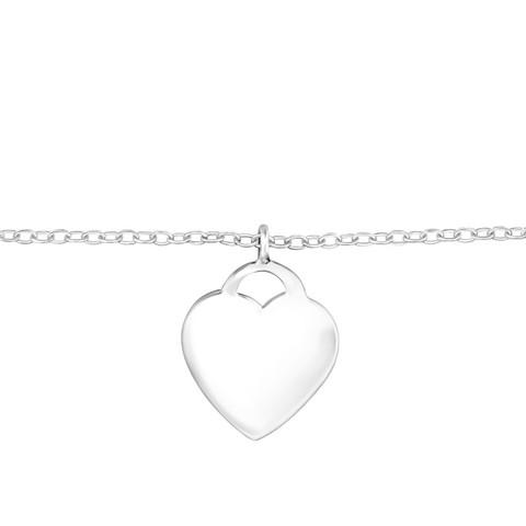 Hopeinen rannekoru, Simple Silver Heart Bracelet