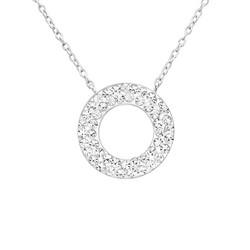 Hopeinen kaulakoru, Elegant Crystal Round Necklace