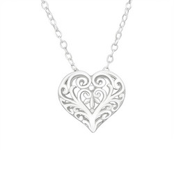 Hopeinen kaulakoru, Filigree Heart Necklace