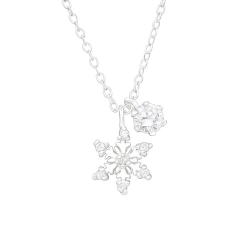Hopeinen kaulakoru, Snowflake with CZ