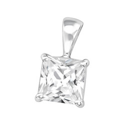 Hopeinen riipus, Simple Square Pendant with CZ