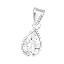 Hopeinen riipus, Classic Teardrop Pendant with CZ