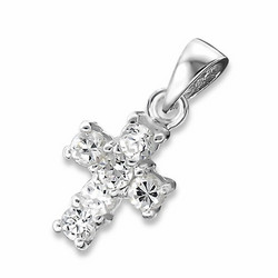 Hopeinen riipus, Cross with Cubic Zirconia
