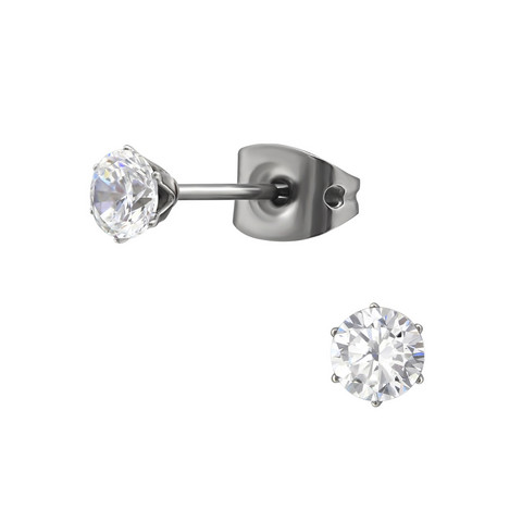 Titaaniset korvanapit, Basic Titanium Cubic Zirconia 4mm