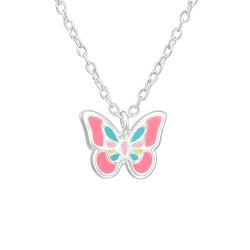 Hopeinen kaulakoru, Pink Butterfly