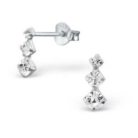 Hopeiset korvanapit, Silver Bar Ear Studs with Crystal