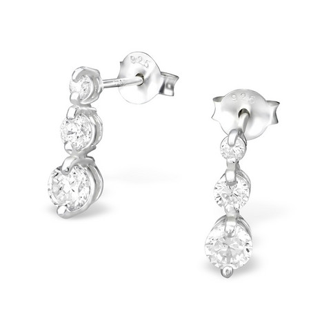 Hopeiset korvanapit, Silver Hanging Ear Studs with Cubic Zirconia