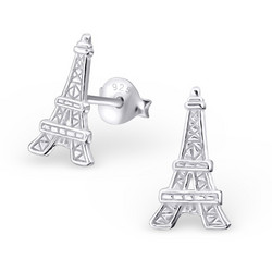 Hopeiset korvanapit, Silver Eiffel Tower Ear Studs