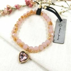 Joustava rannekoru, Pink Crystal Heart