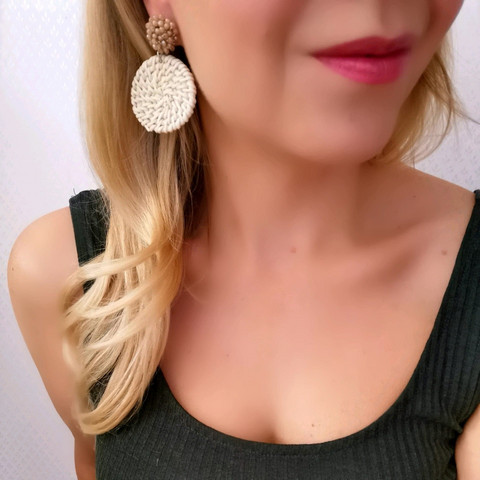 Rottinkorvakorut, Natural Rattan Earrings with Beige Details