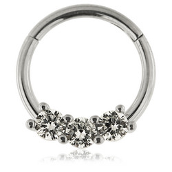 Lävistysrengas, 1,2mm Prong Set CZ Stones Hinged Segment Clicker Ring