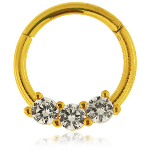 Lävistysrengas, 1,2mm Prong Set CZ Stones Segment Clicker Ring in Gold