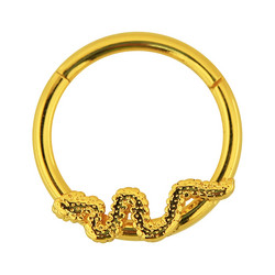 Lävistysrengas, 1,2mm Snake Hinged Segment Ring in Gold
