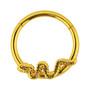 Lävistysrengas, 1,2mm Snake Hinged Segment Ring in Gold
