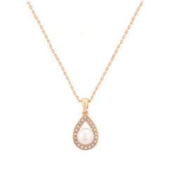 Kristallikaulakoru, ATHENA BRIDAL JEWELLERY|Pearl Teardop (rosegold)