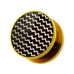 Plugi 10mm, Gold PVD Plated Zig Zag Tunnel