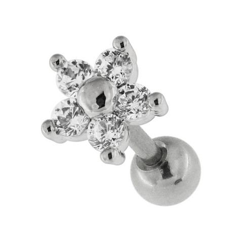 Rustokoru/traguskoru, Pretty Flower Shaped Barbell with CZ