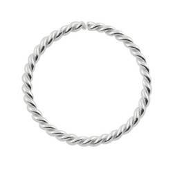 Lävistysrengas, 0,8mm/8mm Twisted Sterling Silver Ring