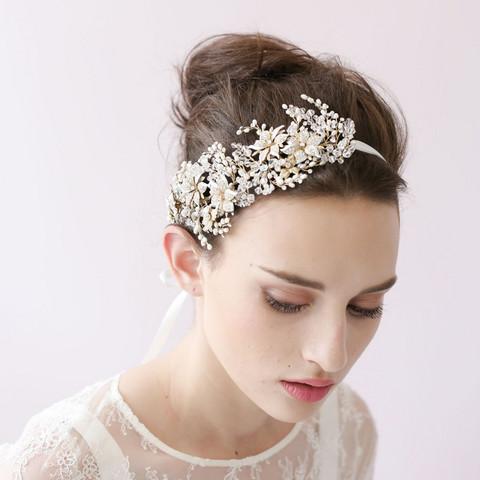 Hiuskoru, panta/ROMANCE, Glamorous Headpiece with Silver Flowers