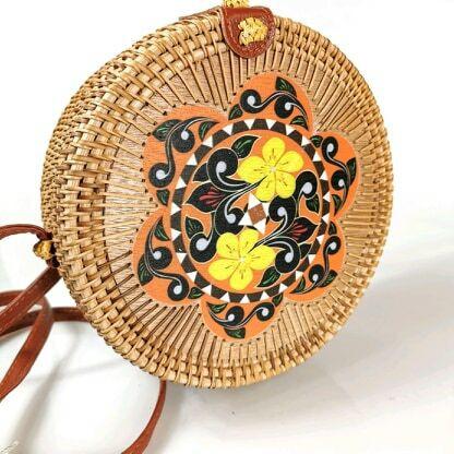 Olkalaukku, Round Bamboo Mandala-bambulaukku