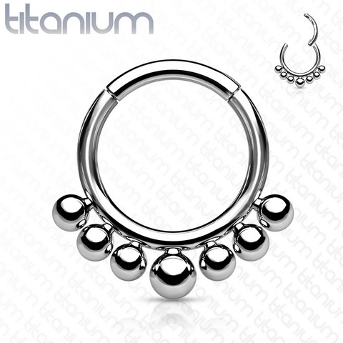 Lävistysrengas, Titanium Hinged Segment Hoop Ring with Graduated Balls