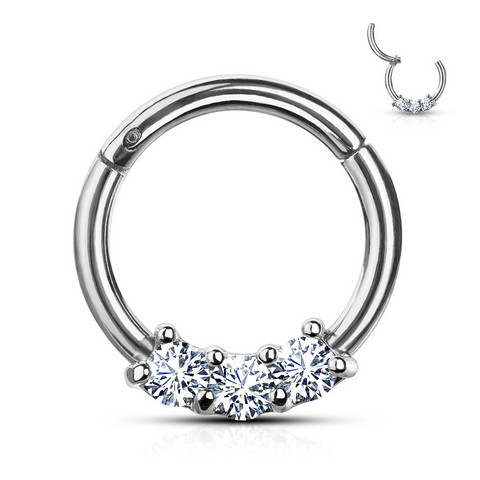 Lävistysrengas, High Quality Precision 3-CZ Segment Hoop Rings