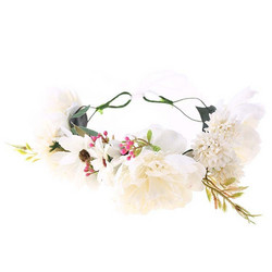 Kukkapanta/SUGAR SUGAR, Pink Meadow, valkoinen hiuspanta
