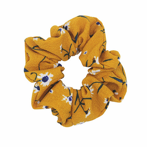 Donitsi/Scrunchie|SUGAR SUGAR, Yellow Flower-kukkakuvioinen scrunchie