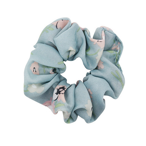 Donitsi/Scrunchie|SUGAR SUGAR, L. Blue Flower-kukkakuvioinen scrunchie