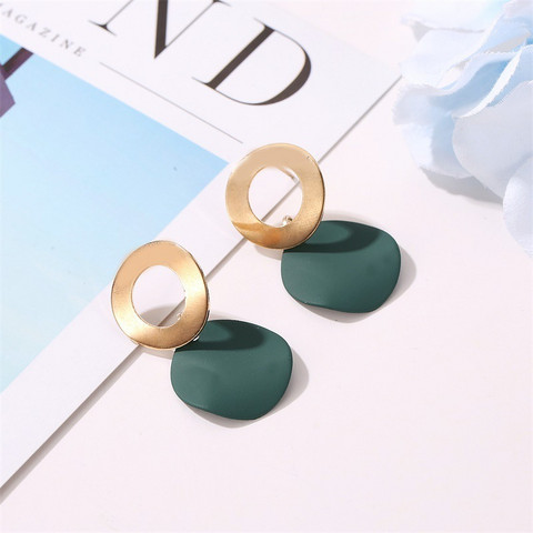 Nappikorvakorut, Minimalistic Green Earrings