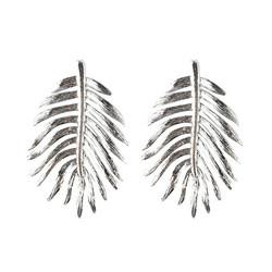Statement-korvakorut, Large Bohemian Leaf Earrings in Silver