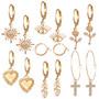 Korvakorusetti-kullanväriset renkaat, Set of Fashion Earrings in Gold