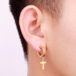 Kirurginteräsrenkaat, Stainless Steel Cross Hoops in Gold