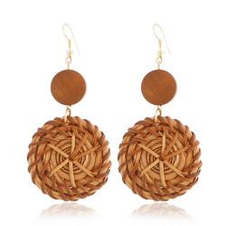 Rottinkorvakorut, Simple Rattan Earrings with Natural Orange Pearl