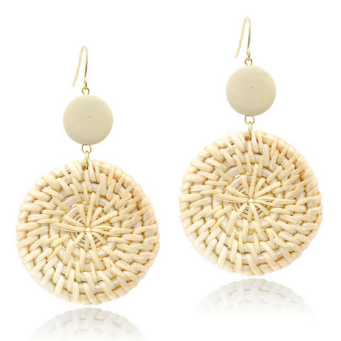 Rottinkorvakorut, Light Simple Rattan Earrings with Natural Pearl