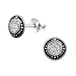 Hopeiset korvanapit, Silver Round Ear Studs with Epoxy