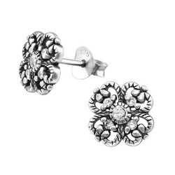 Hopeiset korvanapit, Silver Flower Ear Studs with CZ