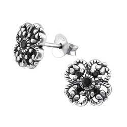Hopeiset korvanapit, Silver Flower Ear Studs with Black CZ