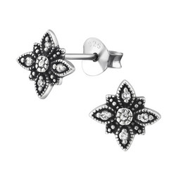 Hopeiset korvanapit, Small Flower Ear Studs with Black CZ