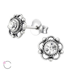Hopeiset korvanapit, Flower Ear Studs with Crystals from Swarovski®