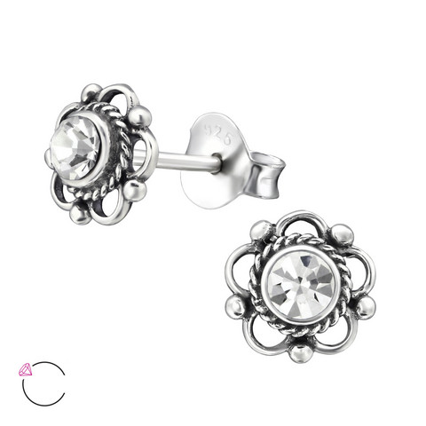 Hopeiset korvanapit, Flower Ear Studs with Crystals
