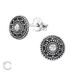Hopeiset korvanapit, Antique Ear Studs with Crystals from Swarovski®