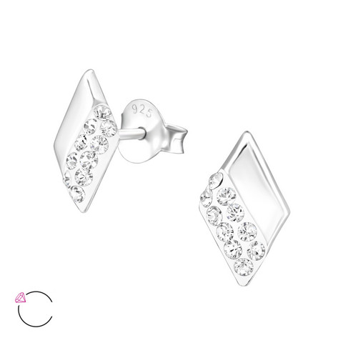 Hopeiset korvanapit, Diamond Ear Studs with Crystals from Swarovski®