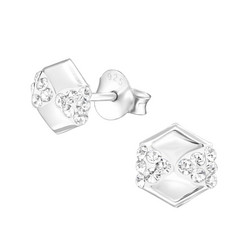 Hopeiset korvanapit, Hexagon Ear Studs with Crystals