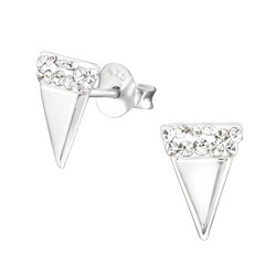Hopeiset korvanapit, Triangle Ear Studs with Crystals