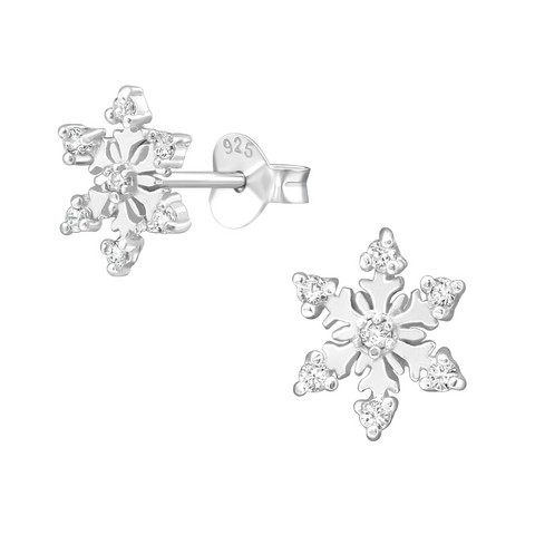 Hopeiset korvanapit, Snowflake Ear Studs with Cubic Zirconia