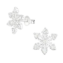 Hopeiset korvanapit, Large Snowflake Ear Studs with Cubic Zirconia