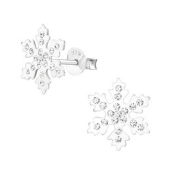 Hopeiset korvanapit, Winter Snowflake Ear Studs with Cubic Zirconia