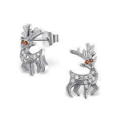 Hopeiset korvanapit, Winter Reindeer Ear Studs with Cubic Zirconia